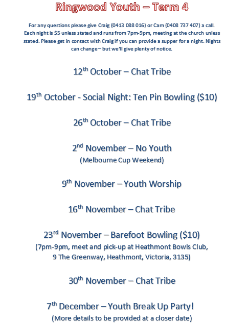 Ringwood Youth Timetable Term 4 2018